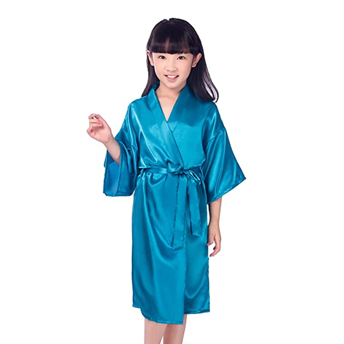 qiansu Seda para niños Seda de Kimono Puro Bata Bata Vestidos de Kimono Ropa Interior de niña de Flores Ropa de Dormir: Amazon.es: Ropa y accesorios