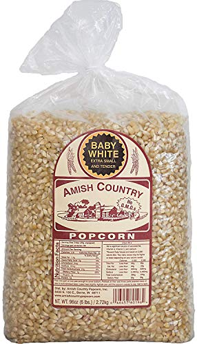 Amish Country Popcorn - Baby White (6 Pound Bag) - Small & Tender Popcorn - Old Fashioned And Delicious with Recipe Guide (Best White Popcorn Kernels)