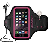 iPhone 6/6S/7/8 Plus Armband, JEMACHE Fingerprint Touch Supported Gym Running Workout/Exercise Arm Band Case for iPhone 6/6S/7/8 Plus with Key/Card Holder (Rosy)