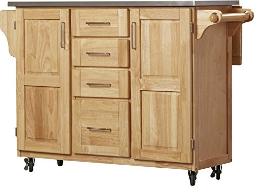 Kitchen Island with Stainless Steel Top Breakfast Bar 4 Utility Drawers on Metal Glides with Stops Brushed Steel Hardware Built-in Spice Rack Tower Bar Paper Towel Holder Lacquered Natural Finish 36' Stainless Steel High Shelf