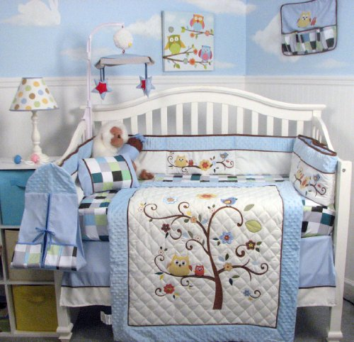 SOHO Baby Blue Cherry tree Nursery Bedding Set 13 pcs