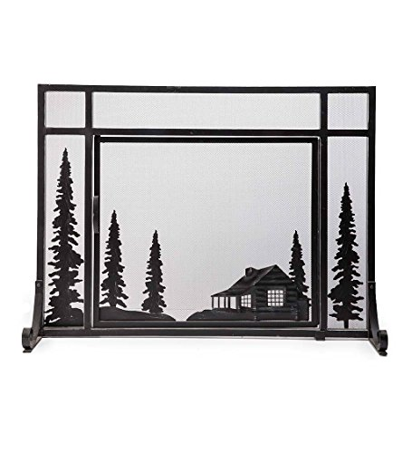 Small Mountain Cabin Hearth Fireplace Screen with Single Door, 3D Laser Cut Design, Steel Construction, 38 W x 12.5 D x 31.5 H Black Finish