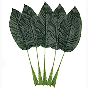 5 Pack Tropical Leaves Fake Faux Artificial Plant Leaves Green Single Leaf Palm for Home Kitchen Party Supplies Tropical Leaves Decorations (23 inch) 16