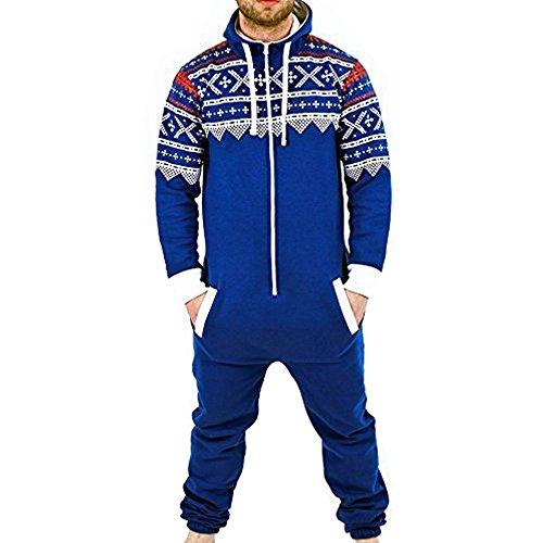 SKYLINEWEARS Men's Onesie Jumpsuit one Piece Non Footed Pajamas Aztek Blue XXL