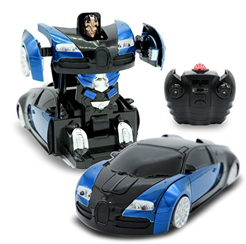 Wall Climbing Blue Inferno RC Toy Transforming Robot Remote Control (27 MHz) Sports Car Wall Climber with One Button Transformation and 360 Speed Drifting, Gravity Defying 1:24 Scale (Blue)