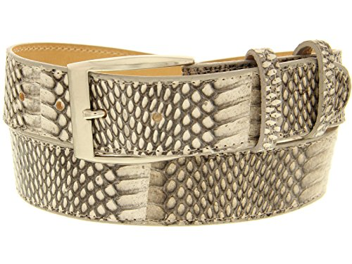 Cowboy Professional - Mens Natural Cobra Skin Western Cowboy Belt Silver Buckle 44