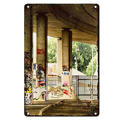 Una Stowe Pillar Graffiti Metal Tin Sign, Tin Poster, Vintage Style Wall Ornament Coffee ()