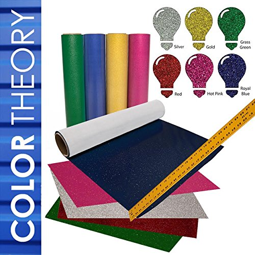 Greenstar GLITTER Heat Transfer Vinyl HTV, 6-Color Pack 20in x 12in - Color Theory by USCutter by Greenstar