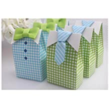 Bow Tie Birthday Boy Baby Shower Favor Candy Treat Bag Wedding Favors Candy Box Gift Bags(Pack of 50)