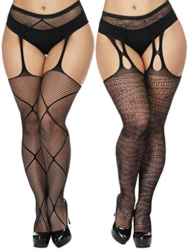 TGD Womens Plus Size Stockings Suspender Pantyhose Fishnet Tights Black Thigh High Stocking 2Pairs Size(US 8-16) (Black 6680)