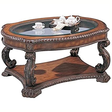 Amazoncom Bowery Hill Oval Glass Top Coffee Table In Antique Brown