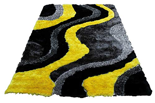 3D New Yellow Gray Black Shaggy Shag Area Rug 8x10 Curve Modern Contemporary Design High End Designer Quality Flokati High Pile Soft Iridescent Sheen Ultra Plush Living Room Bedroom Hand Knotted ()