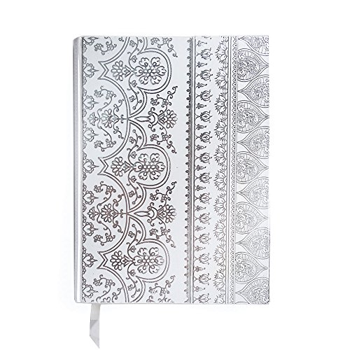 (Vintage Foiled Journal with Magnetic Closure, Pen Holder and Expandable Pocket -192 Blank Pages, Cream Paper, 6X8 Inches (White))