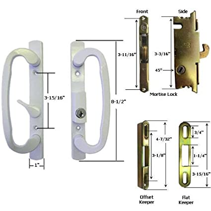 STB Sliding Glass Patio Door Handle Kit with Mortise Lock and Keeper ...
