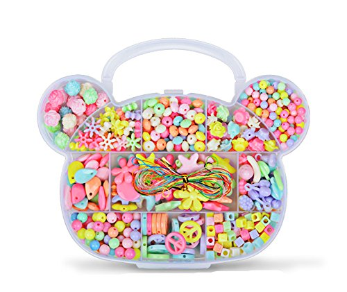 Y&Y Star mixed Colorful Acrylic DIY children's intelligence bead Toy DIY Jewelry Fun Custom Jewelry Wristband Maker for Children Necklace and Bracelet Crafts set(Bear Shape)