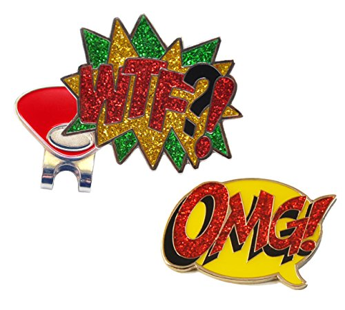 Magnetic Marker Pack (WTF and OMG Glitzy Ball Marker Combo with ONE Magnetic Hat Clip)