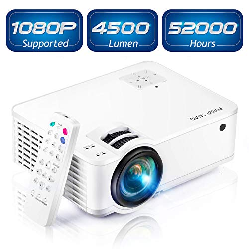 """Mini Projector [2020 Updated], Projector 1080P Supported, 4500 Lux 210"""" Display with 52,000 Hrs LED Movie Projector Compatible with Phone,Computer,Laptop,USB,HDMI,VGA-Home,Office,Outdoor Entertainment"""