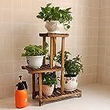 European style wood flower multilayer solid wood floor flower pot balcony indoor simple bonsai frame-A