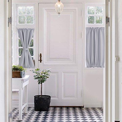 Aquazolax Rod Pocket French Door Curtain - 25x40 Inch Patio Doors Panels Blackout Drape Curtains Room Darkening - Single Panel, Greyish White (Patio For Panels Window Doors)