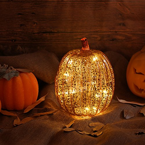 Pumpkin Glass - Romingo Mercury Glass Lighted Pumpkin with Timer for Christmas Gift and Home Decor, Orange, 7.5 inches