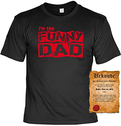 Humorvolles T-Shirt mit Urkunde - I am the funny Dad - witziges Geschenkeset für Vater Papi Papa Vati