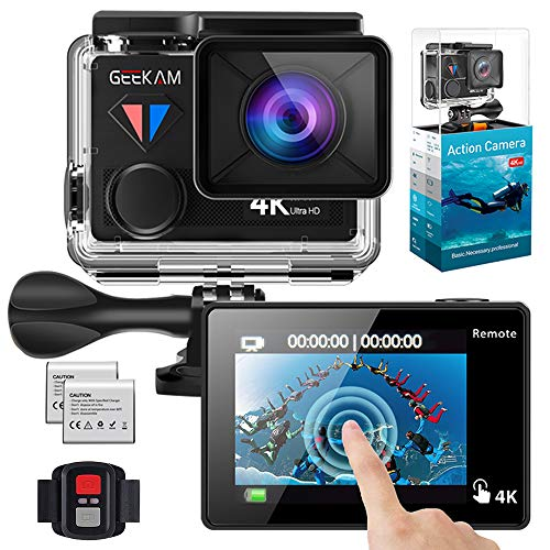 GeeKam WiFi Sports Action Camera 4K 30fps Ultra HD Touch Screen 170° Wide Angle Lens Underwater Waterproof Camcorder with Remote Control 2 Rechargeable 1350mAh Batteries and Mounting Accessories