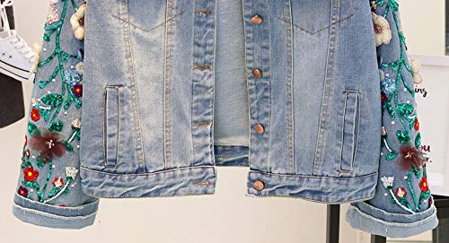 Maniche Vendita Cuciture Floreale Donne Per Ricamo Di Calda Con L A Lunghe Pizzo Diretta Le Rlwqlfs Cappotti Jeans Paillettes Giacca g1qaa7