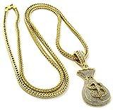"""Mens Gold Plated Cash Money Bag $ Hip-Hop Pendant 36"""" Franco Chain Necklace D304"""
