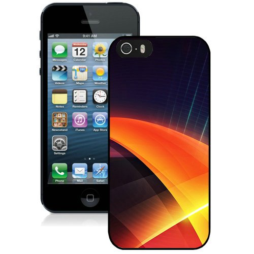 Coque,Fashion Coque iphone 5S Abstract Orange Layers Noir Screen Cover Case Cover Fashion and Hot Sale Design