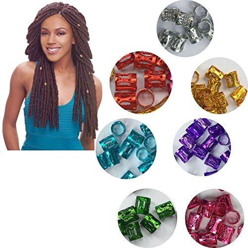 Hair Braid Cuff Clip Hair Dreadlock Bead Fashion DIY Styling Tools Gold Dreadlock Hair Beads Aluminum metal Adjustable Hair Rings for girl&women 7 Color Options Dreadlock Hair Rings