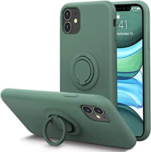 KUMEEK for iPhone 11 Case Fingerprint | Kickstand | Anti-Scratch | Microfiber Liner Shock Absorption Gel Rubber Full Body Protection Liquid Silicone Case for iPhone 11- Pine Green