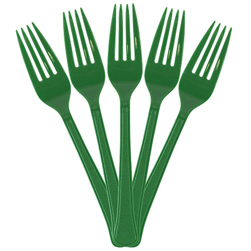 Kiwi Forks - JAM PAPER Premium Utensils Party Pack - Plastic Forks - Green - 48 Disposable Forks/Pack