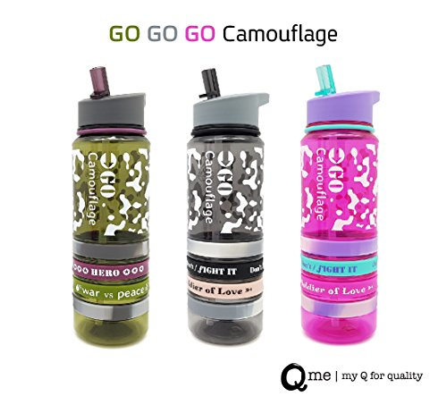 Q Me COOL BANDS CAMOUFLAGE ARMY PINK Tritan Water Bottle: Trendy Transparent Tumbler with 4 Silicone Wristbands and Built-in Straw, Holds 25.4 Ounces