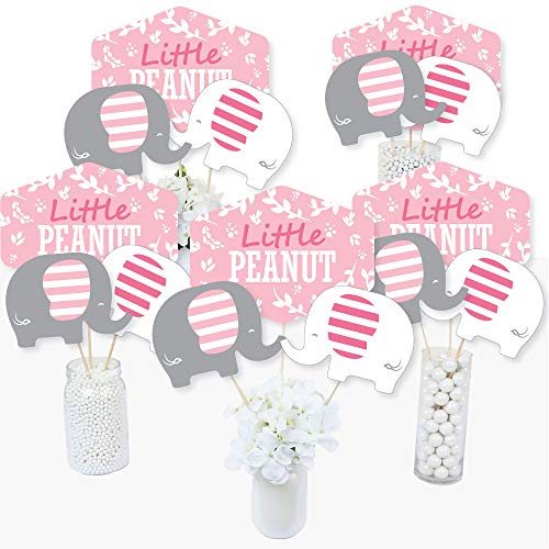 Pink Elephant - Girl Baby Shower or Birthday Party Centerpiece Sticks - Table Toppers - Set of 15 ()