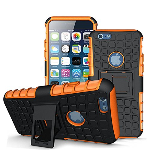 iPhone 6 Plus Case, LENBOKEN(TM)Armor cases (6/ 6S+) Tough Rugged Shockproof Tyre Skin inner Kickstand Dual Layer Hybrid Hard/Soft Slim Protective Case for iPhone 6/6S Plus 5.5 inch (Orange Hard Case)