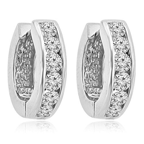 1.20 ct Ladies Round Cut Diamond Hoop Huggie Earrings In 14 kt White Gold