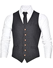 VOBOOM Men's V-Neck Suit Vest Slim Fit Dress 6 Button Vest Waistcoat