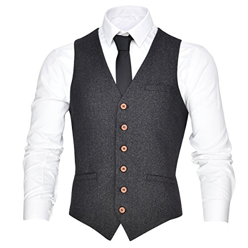VOBOOM Men's V-Neck Suit Vest Casual Slim Fit Dress 6 Button Vest Waistcoat (Grey, (Ivory Tuxedo Vest)