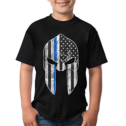 Line - Spartan Mask American Flag Youth Crew Neck Short Sleeve T-Shirts Tees ()