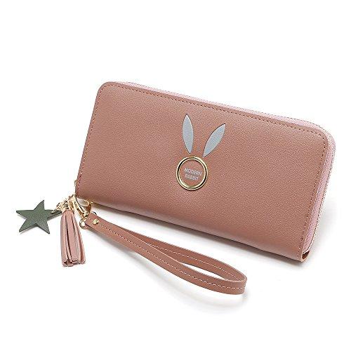 Belle Longue Zipper Pattern Dark élégante Pink Color Pochette Lady d'embrayage Rabbit Blue UTxXUnrwqO