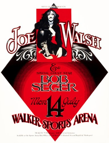 1975 Joe Walsh - Bob Seger - Walker Sports Arena - Concert Poster
