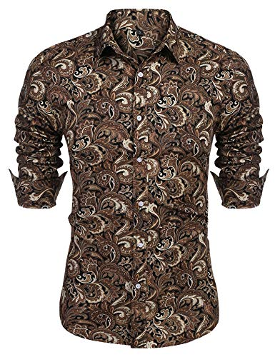 (URRU Men's Floral Dress Shirt Long Sleeve Casual Paisley Printed Button Down Shirt Khaki XXL)