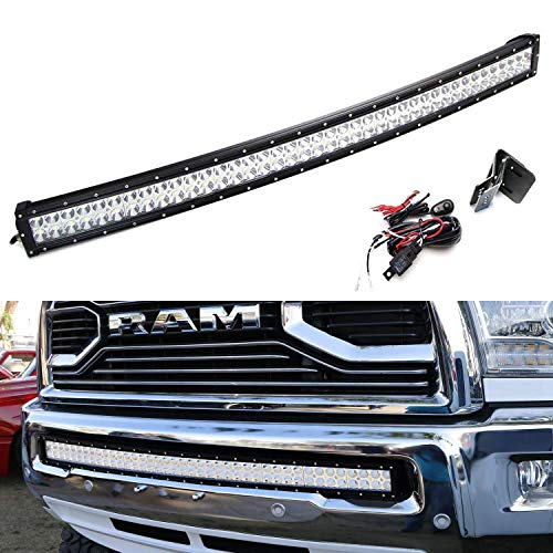 iJDMTOY Lower Grille Mount 40-Inch LED Light Bar Kit For 2010-18 Dodge RAM 2500 3500, Includes (1) 240W Curved LED Lightbar, Lower Bumper Opening Mounting Brackets & On/Off Switch Wiring Kit