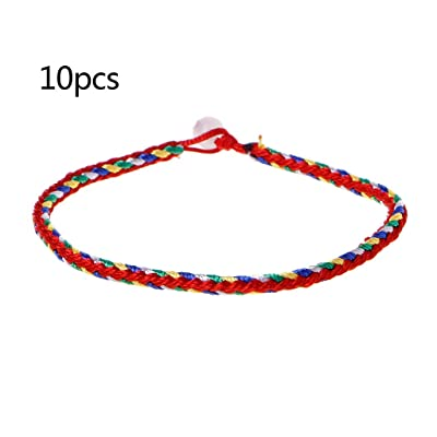 QUQUTWO 10PCS Handmade Braided Woven Friendship Red String Bracelet Dron Boat Festival: Jewelry