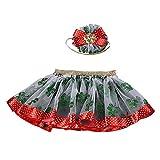 aliveGOT Baby Girl Layered Tutu Skirt Ruffle Tiered Ribbon Ballet Dance Dress + Headband/Hoop Set (Green, M)