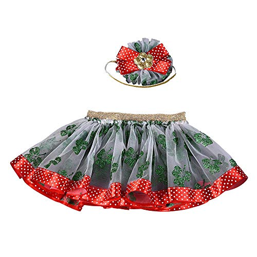 Sameno Baby Girls Kids Christmas Web Gauze Tutu Ballet Skirts Fancy Party Princess Dress+ Hair Hoop Set (Green1, M)