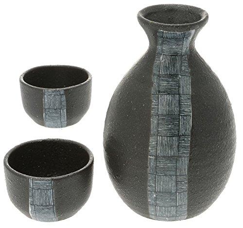 Kotobuki Sake set Blue and White Weave Design - Junmai Daiginjo Sake