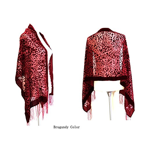 Gorgeous Burgundy Color Leopard Silk Burnout Velvet Shawl Wrap Scarf