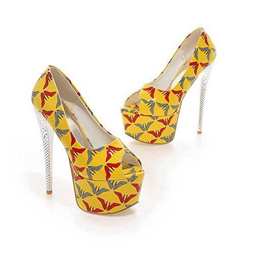 Päälle Pumput kengät Peep Valikoituja Vedettävä Amoonyfashion Naisten Korkokenkiä Pu Väri Keltainen Open Toe AOHHCq5xw