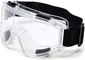 TOPGRADE Safety Goggle Clear Lens High Impact/Splash Resistant Glasses with Adjustable Strap